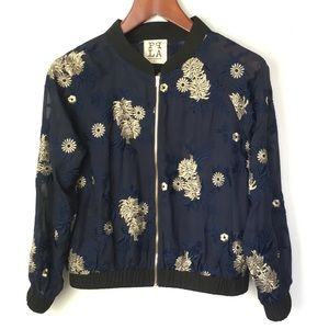PPLA Starlit Woven Blue Sheer Embroidered Bomber L